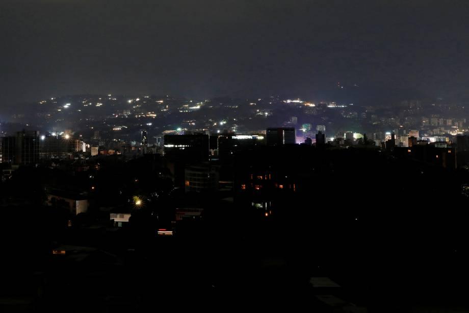 Vista geral durante apagão em Caracas, na Venezuela - 07/03/2019