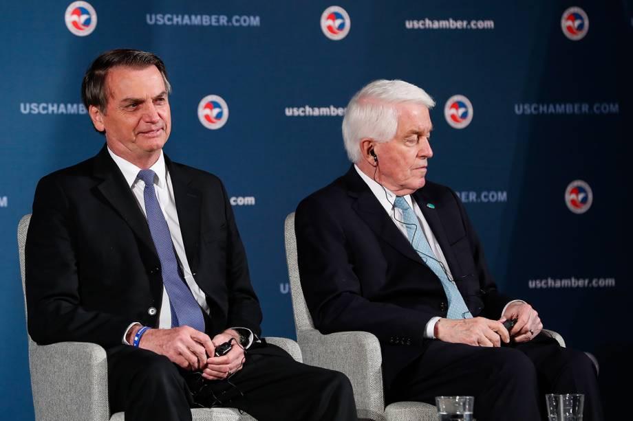 Presidente da República Jair Bolsonaro com Tom J. Donohue, CEO da Câmara de Comércio dos EUA durante uma discussão sobre as relações EUA-Brasil em Washington - 18/03/2019