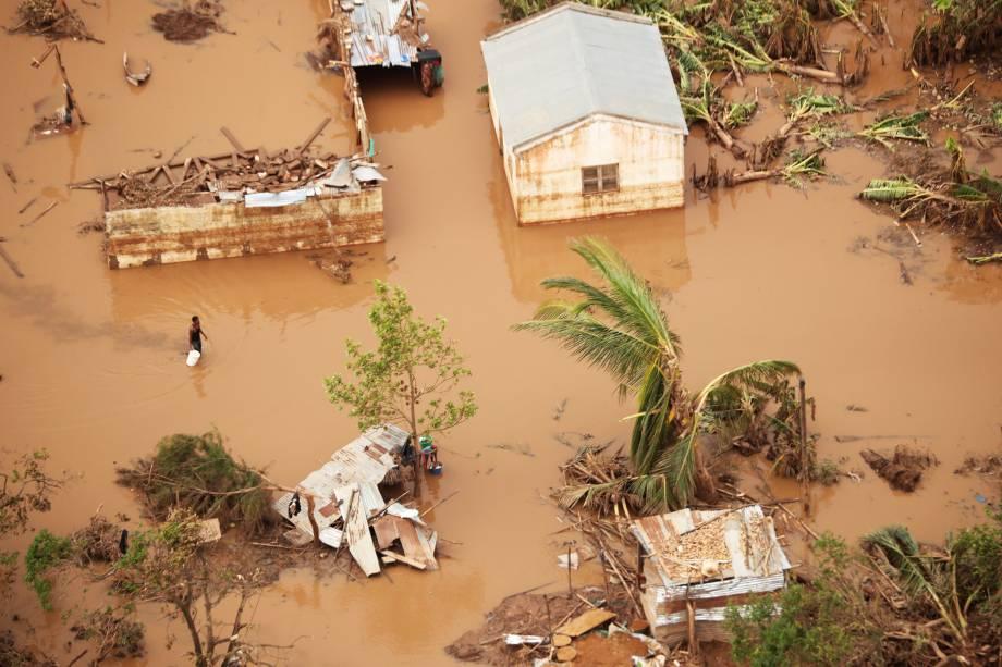 Vista aérea da cidade de Beira, em Moçambique, atingida pelo ciclone Idai - 23/03/2019