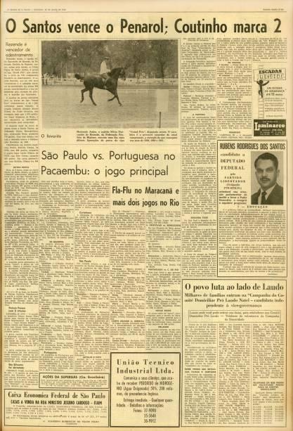 29 de julho de 1962 - Página do Caderno de Esportes do jornal 'O Estado de S. Paulo' que traz como manchete a vitória do Santos Futebol Clube por 2 a 1 contra o Peñarol, do Uruguai, em jogo válido pela Taça Libertadores da América. A partida foi realizada em Montevidéu, capital uruguaia, e foi vencida com os gols do centroavante Coutinho