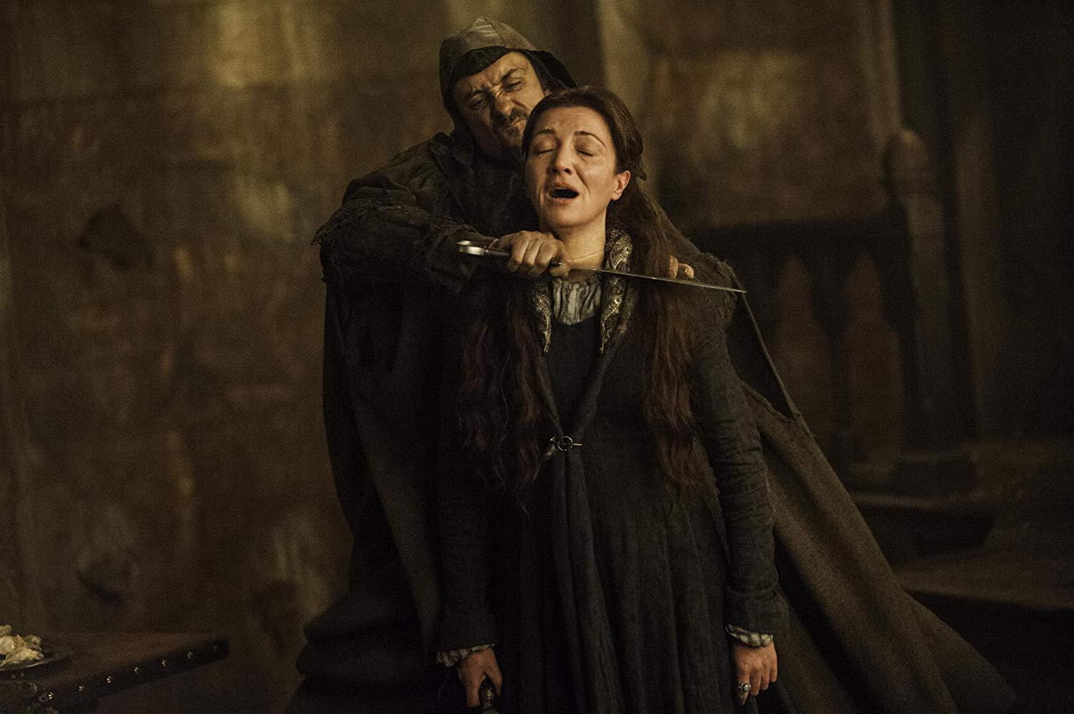 Michelle Fairley em cena do episódio 9 da temporada 3 de' Game of Thrones'