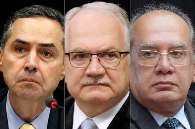 Luís Roberto Barroso, Edson Fachin e Gilmar Mendes