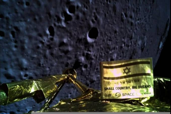 An image taken by Israel spacecraft, Beresheet, upon its landing on the moon, obtained by Reuters from Space IL