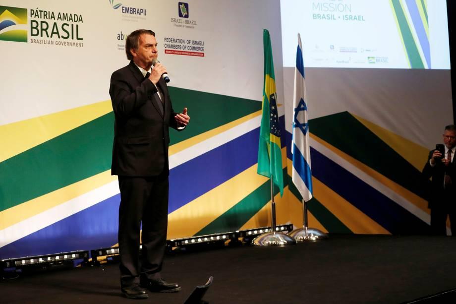 O presidente Jair Bolsonaro fala em um evento com empresários israelenses e brasileiros, com a presença do primeiro-ministro israelense Benjamin Netanyahu, em Jerusalém - 02/04/2019
