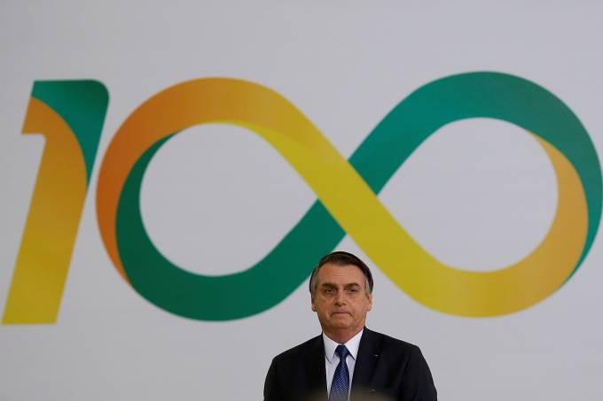 Jair Bolsonaro durante a cerimônia dos 100 dias de seu governo