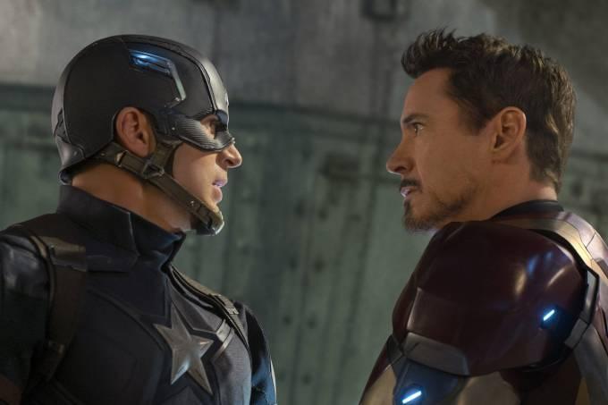 Chris Evans e Robert Downey Jr. como Capitão América e Homem de Ferro em 'Capitão América: Guerra Civil'