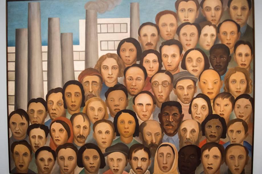 A obra 'Operários' (1933), faz parte da exposição 'Tarsila Popular', que traz obras da artista Tarsila do Amaral no Masp (Museu de Arte de São Paulo) - 03/04/2019