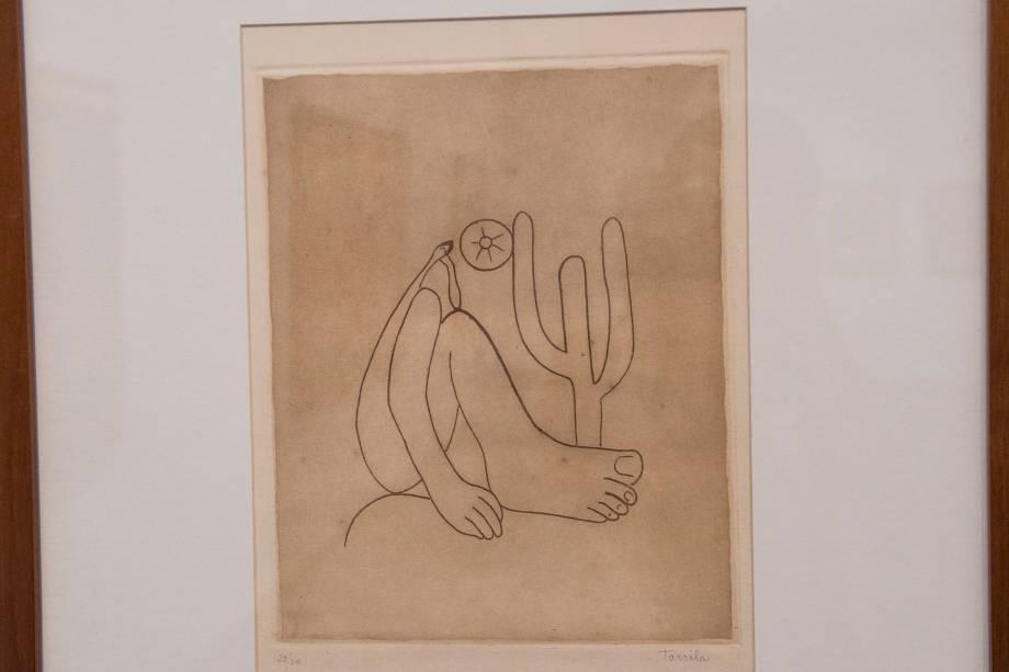 Esboço da obra 'Abaporu', na exposição 'Tarsila Popular', que traz obras da artista Tarsila do Amaral no Masp (Museu de Arte de São Paulo) - 03/04/2019