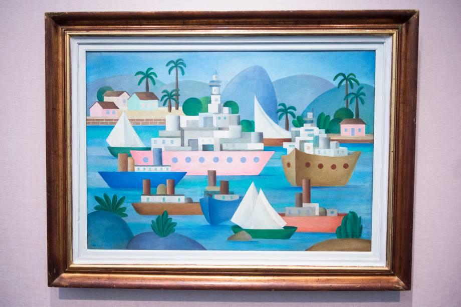 A obra 'Porto I' (1953), faz parte da exposição 'Tarsila Popular', que traz obras da artista Tarsila do Amaral no Masp (Museu de Arte de São Paulo) - 03/04/2019