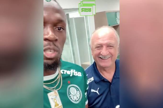 Usain Bolt visita CT do Palmeiras