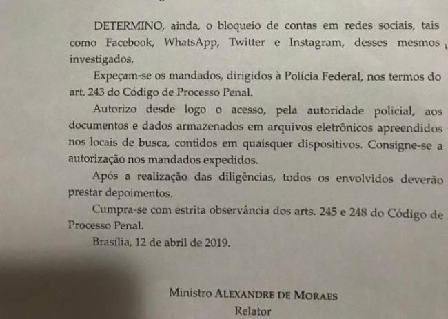 Trecho de decisão proferida pelo ministro Alexandre de Moraes, do Supremo Tribunal Federal