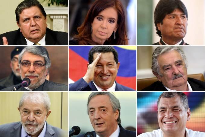 Alan García, Cristina Kirchner, Evo Morales, Fernando Lugo, Hugo Chávez, José Mujica, Lula, Néstor Kirchner e Rafael Correa