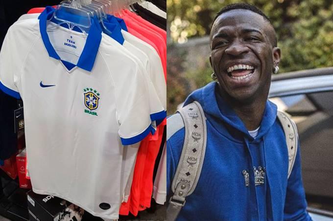 Vinicius Júnior chega ao Brasil para lançar camisa branca da seleção