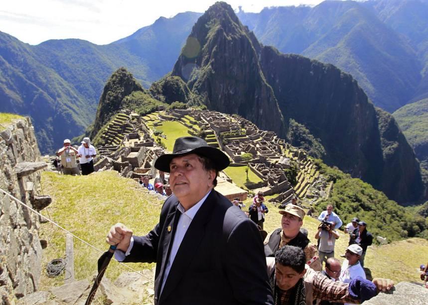 O ex-presidente peruano Alan Garcia durante cerimônia de comemoração do centenário da descoberta da Cidadela Inca de Machu Picchu, em Cusco - 07/07/2011