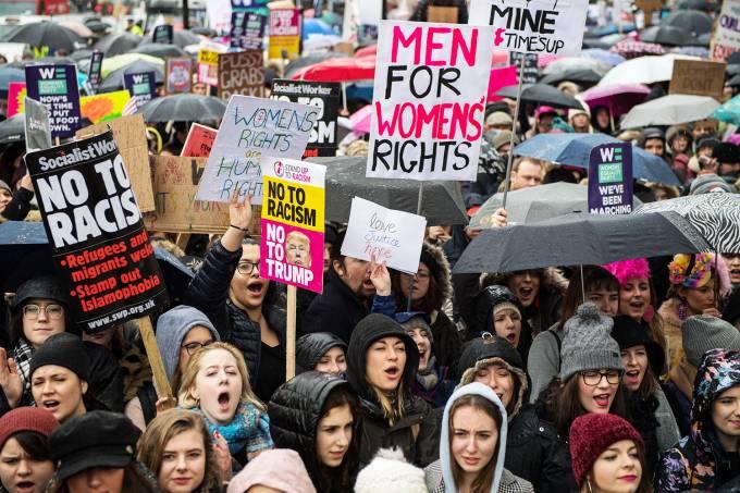 Protesto contra violência sexual em Londres