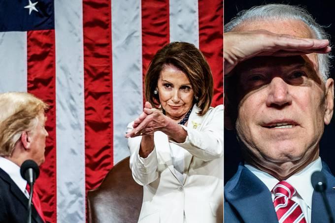 Nancy Pelosi, Donald Trump e Joe Biden