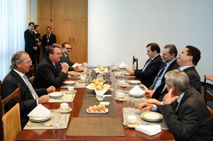 Jair Bolsonaro, Paulo Guedes, Rodrigo Maia, Dias Toffoli e Davi Alcolumbre