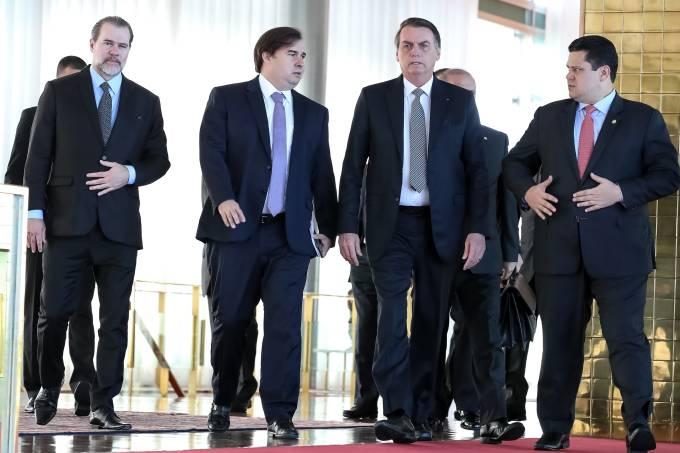 Jair Bolsonaro, Dias Toffoli, Davi Alcolumbre e Rodrigo Maia