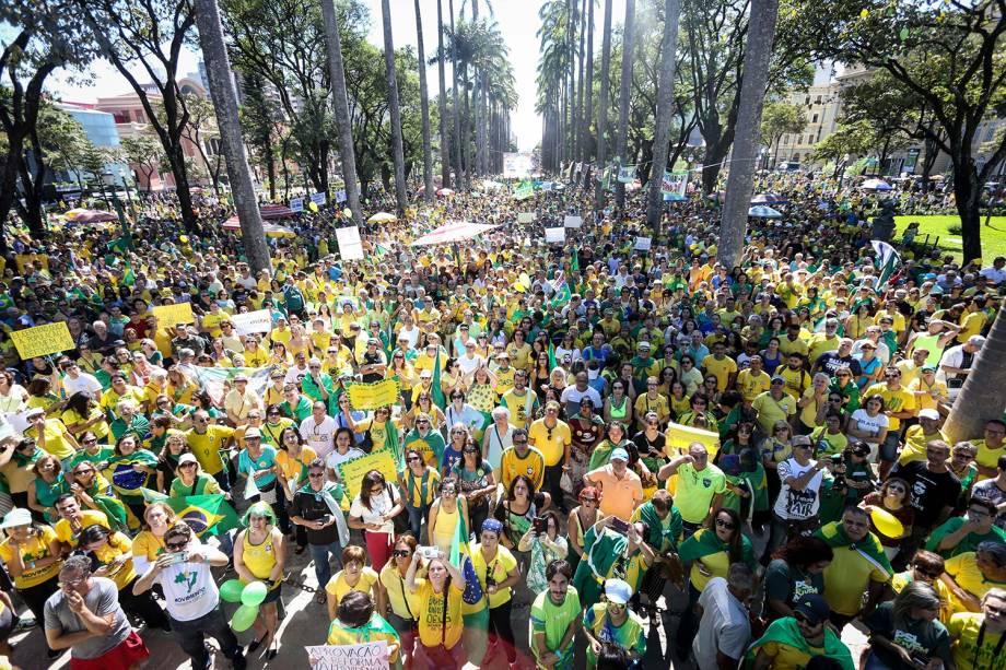 Protesto em apoio ao governo do presidente Jair Bolsonaro, na Praça da Liberdade, em Belo Horizonte (MG) - 26/05/2019