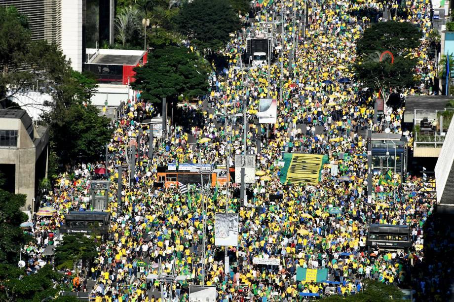 Manifestantes a favor do governo Bolsonaro se reúnem na Avenida Paulista, em São Paulo (SP) - 26/05/2019