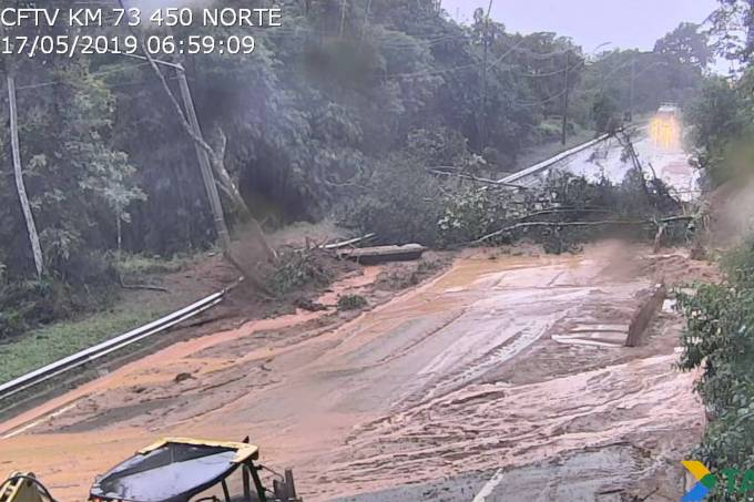 Deslizamento na rodovia dos Tamoios