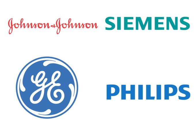Johnson & Johnson, Siemens, GE e Philips