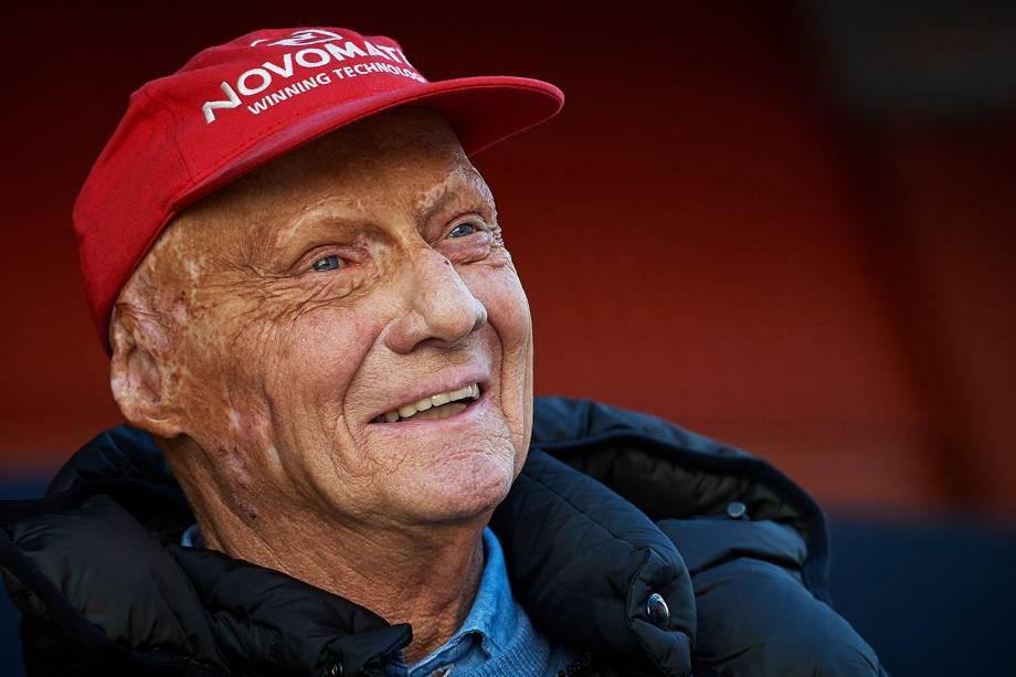 Niki Lauda, tricampeão mundial de Fórmula 1, no Circuito da Catalunha, na Espanha - 07/03/2018