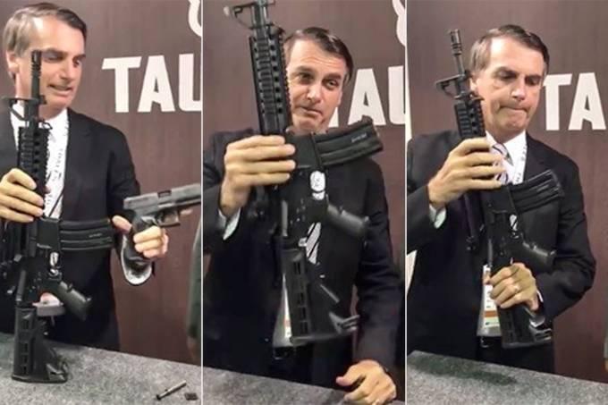 Jair Bolsonaro com o fuzil T4 da Taurus