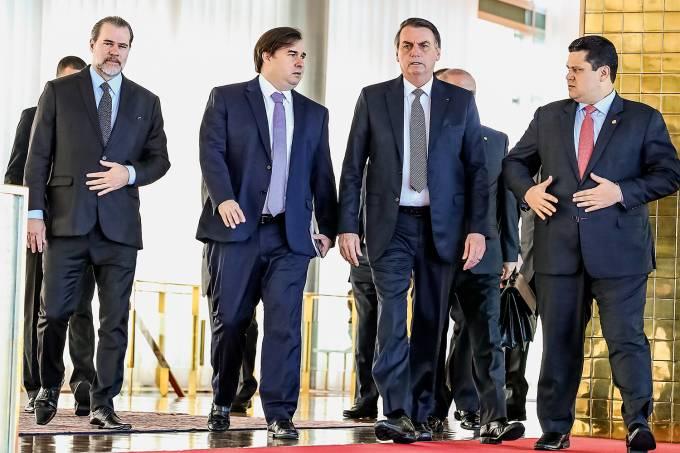 Dias Toffoli, Rodrigo Maia, Jair Bolsonaro e Davi Alcolumbre