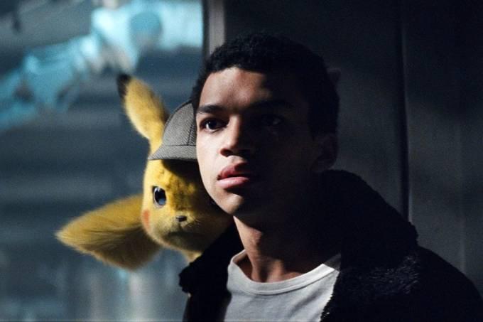 Justice Smith contracena com o monstrinho Pikachu em 'Pokémon: Detetive Pikachu'