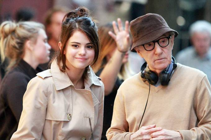 Selena Gomez e Woody Allen nos bastidores do novo filme do diretor, 'A Rainy Day in New York'