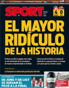 Diário 'Sport' detonou o Barcelona