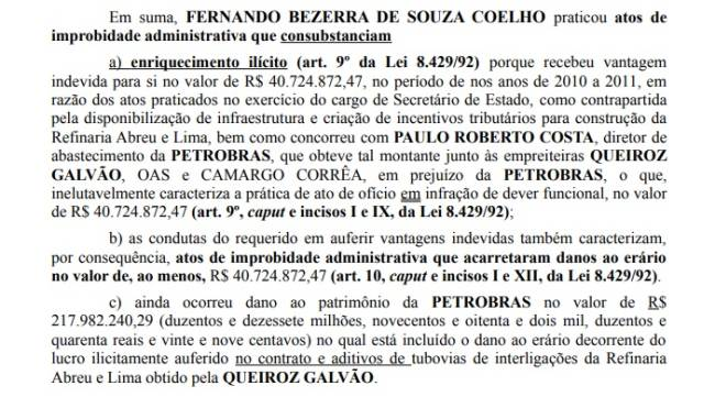 Trecho da petição que acusa Fernando Bezerra Coelho de ilícitos