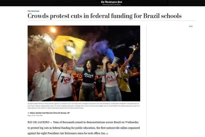 Protesto de estudantes –  Repercussão internacional