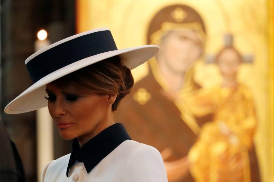 Primeira-dama dos Estados Unidos, Melania Trump, visita a Abadia de Westminster em Londres - 03/06/2019