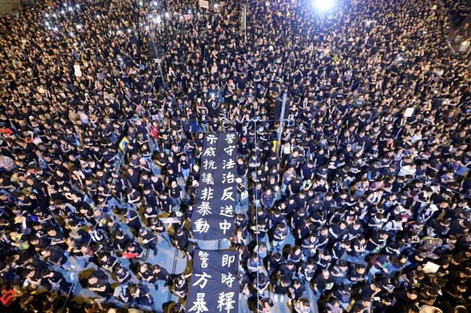 Demonstration demanding Hong Kong's leaders to step down and withdraw the extradition bill, in Hong Kong