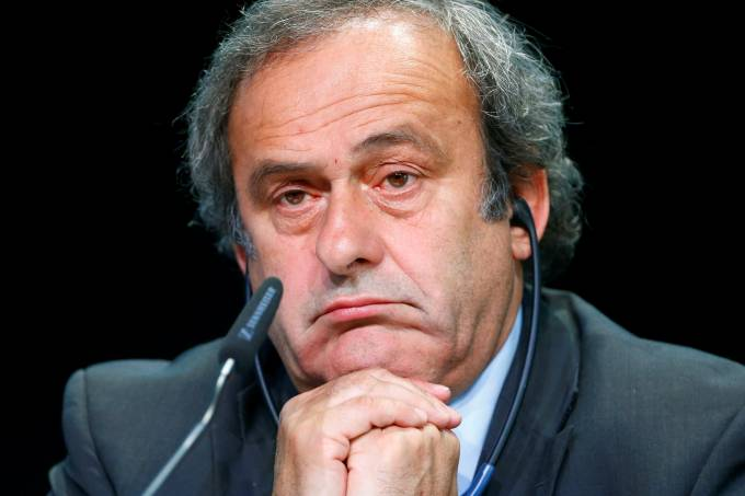 FILE PHOTO: UEFA President Platini addresses a news conference after a UEFA meeting in Zurich