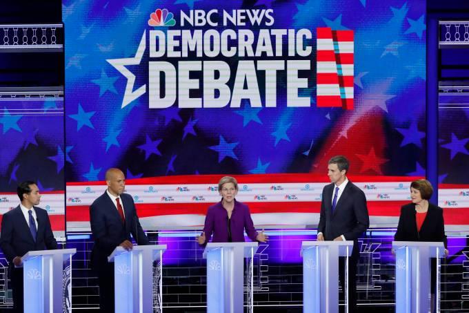 Senator Warren speaks at the first U.S. 2020 presidential election Democratic candidates debate in Miami, Florida, U.S.,