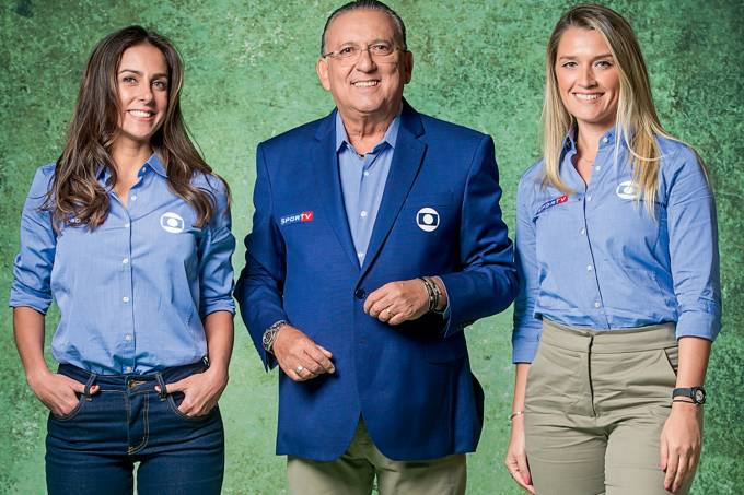 Carol Barcellos , Galvão Bueno e Ana Thais Matos