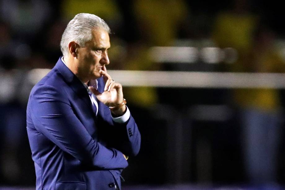 Tite, técnico da Seleção Brasileira, durante partida entre Brasil e Bolívia - 14/06/2019
