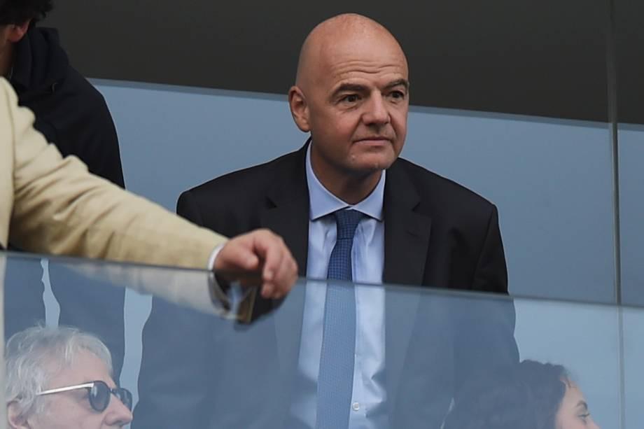 Gianni Infantino, presidente da FIFA, acompanha partida entre Brasil e Peru - 22/06/2019