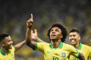 Willian comemora após marcar o quinto gol do Brasil durante partida contra o Peru, válida pelo grupo A da Copa América, realizada na Arena Corinthians - 22/06/2019