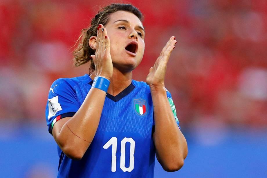 A jogadora italiana Cristiana Girelli durante partida contra o Brasil, válida pela fase de grupos da Copa do Mundo Feminina - 18/06/2019