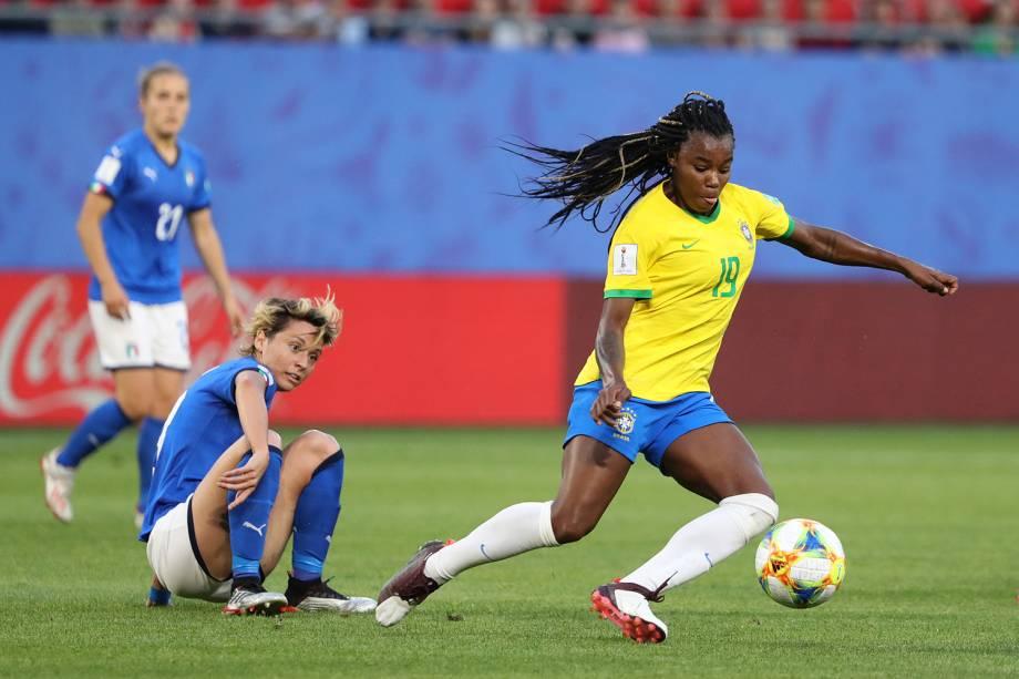 Ludmila, jogadora da Seleção Brasileira, durante partida contra a Itália, válida pelo grupo C da Copa do Mundo Feminina, realizada em Valenciennes, na França - 18/06/2019