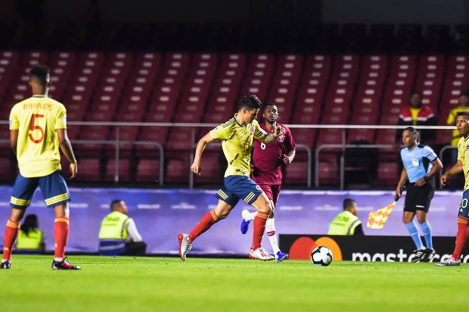 James Rodríguez, atacante da Colômbia, durante partida contra o Catar, válida pela fase de grupos da Copa América, realizada no Estádio do Morumbi, em São Paulo (SP) - 19/06/2019