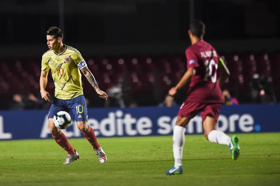 James Rodríguez (esq), atacante da Colômbia, durante partida contra o Catar, válida pela Copa América - 19/06/2019