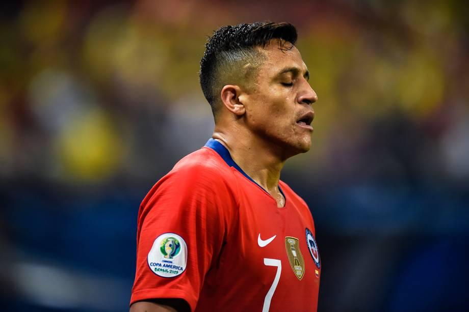 Alexis Sánchez, jogador do Chile, durante partida contra a Colômbia, válida pelas quartas de final da Copa América - 28/06/2019