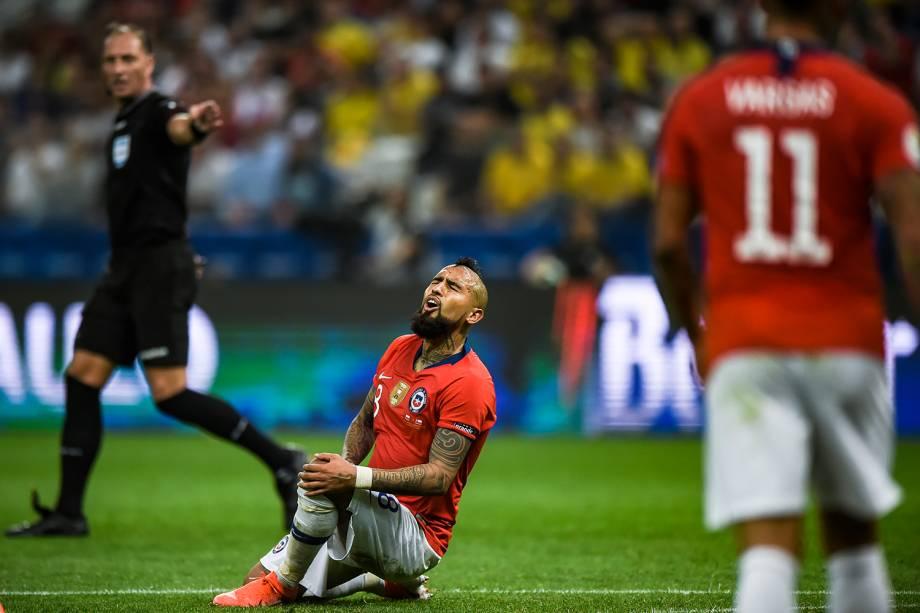 Arturo Vidal, jogador chileno, durante partida contra a Colômbia - 28/06/2019