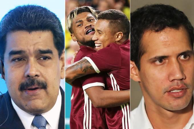 Nicolás Maduro, jogadores da Venezuela e Juan Guaidó