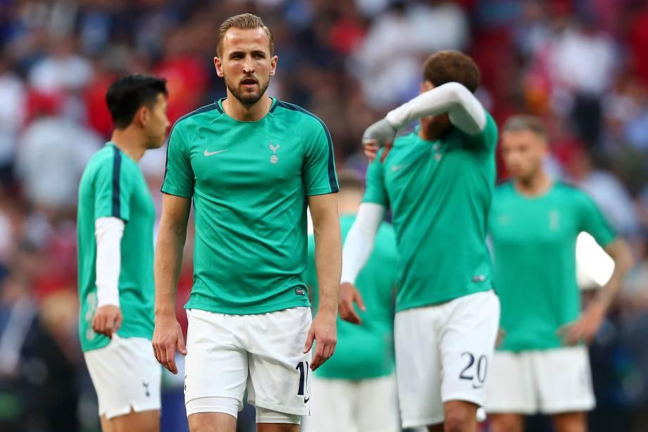 MADRID, SPAIN - JUNE 01: Harry Kane, antes da final da liga de campeões de UEFA entre Tottenham Hotspur e Liverpool no Estádio Wanda Metropolitano - 01/06/2019